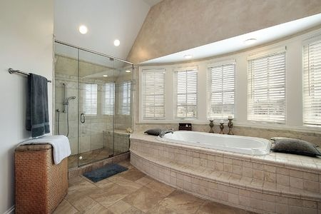 Tub, Shower And Shower Bench In Master Bathroom