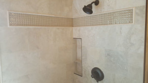 glass tile shower accent
